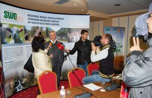 "Mr. Paskal Vogli, SWG Technical Assistant for the cross-border region ""Prespa"" giving statement for the media"